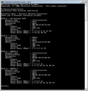 netsh command screen